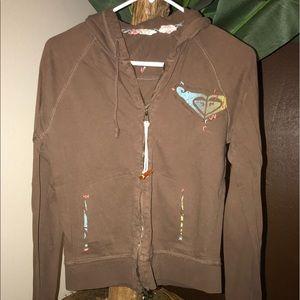 Roxy Brown Medium Zipper Zip-Up Hoodie